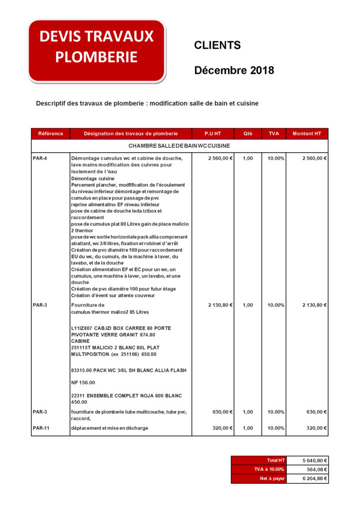 Devis pour travaux de plomberie à Lille